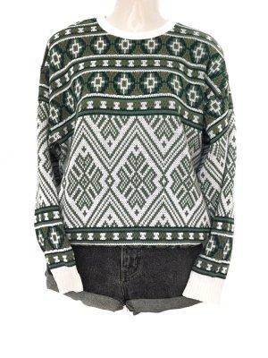 True Vintage Norweger Style Oversize Strick Pulli Pullover Winter Muster