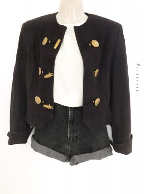 True Vintage Original 80er Jahre Jacke Blazer Look Crop Wildleder Lederjacke