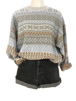 True Vintage Oversize Muster Pulli Pullover Strick Knit Wear Cozy Winter Hippie