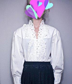 True Vintage Oversized Blus Lochstickerei, Vintage langarm Bluse