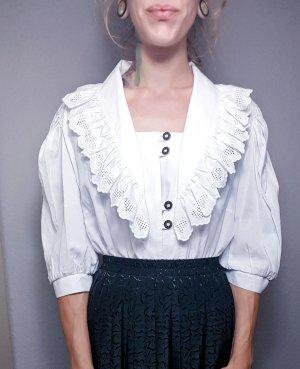 True Vintage Oversized Bluse, Rüschenbluse, Kragen