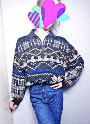 True Vintage Oversized Pullover, Reißverschluss, bunt 80er Retro, unisex, hipster