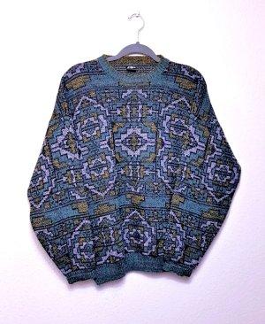 True Vintage Oversized Pullover, Wolle, Alpaca, Retro, 80er bunt