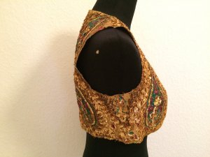 Knitted Vest yellow-gold orange