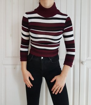 True Vintage pulli pullover croptop crop top croppulli croppullover rollkragen streifen bluse hemd