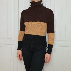 True Vintage Pullover Pulli 5 S XS braun schwarz Top Hemd Bluse rollkragen Rollkragenpullover