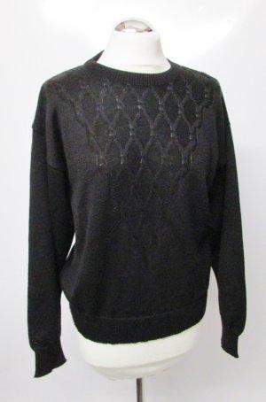 True Vintage Pullover Schwarz Größe M 40 Raute Wolle Strickpullover Pulli Strick Muster Dezent Oversize