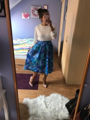 High Waist Skirt white-blue