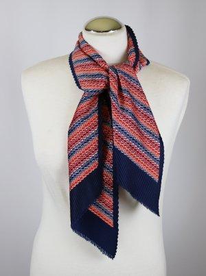 True Vintage Schal Tuch Ripp Plissee Dunkelblau Rot Orange Haarband Halstuch