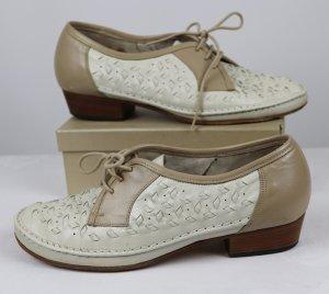 True Vintage Schnürschuhe Leder Schuhe Christian Dietz Größe 4,5 37 Twotone Beige Wollweiß Flechtleder Trotteur 50er 40er Look