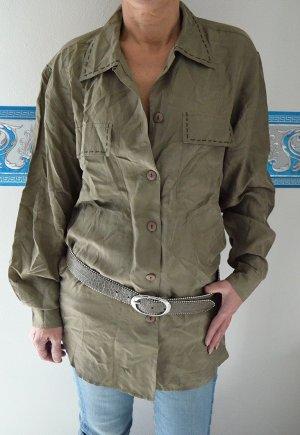 True Vintage Seidenbluse Bluse Seide Silk Safari Schlamm Oversized Blusenkleid