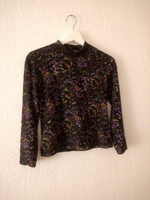 true vintage shirt 36 S samt durchsichtig lila grün blogger fashion