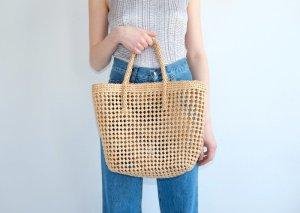 true vintage strandtasche flechttasche korbtasche