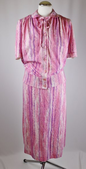 True Vintage Strick Ensemble Kostüm Kober Größe 42 44 XL Zweiteiler Rosa Weiß Lila Midirock Bluse Cardigan Pulli Pullover 50er Feinstrick