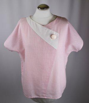 True Vintage Sweet 80er Tunika Bluse Kurzbluse Größe M 38 Rosa Weiß Streifen Asymetrisch Sailor Cropped