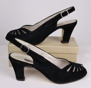 True Vintage Tanzschuhe Pumps Sandalen Mattil  Größe 4 36 Velours Schwarz 50er Rockabilly Slingback Peep Toe