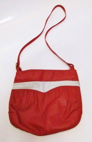 e074d45f28902 True Vintage Tasche 80er Jahre Rot Dunkelrot Weiß kleine Handtasche aus  Leder Beutel Beuteltasche Henkeltasche