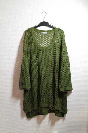 True Vintage, waldgrüner, oversized Netzpulli / Pullover / Minimal / Hippie