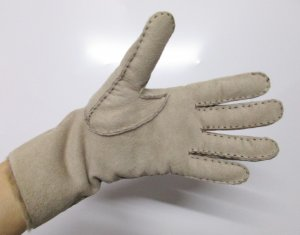 Vintage Fur Gloves beige leather