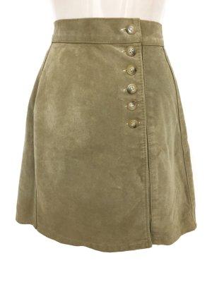 Falda de cuero beige-crema