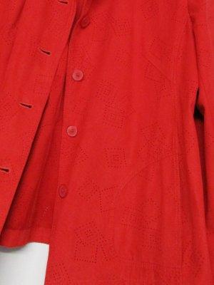 True Vintage Wildlederimitat Blusenjacke Jacke Velours Größe L 42 Rot Lochmuster Cut Out Lochprint Rauten Western Bluse Hemd
