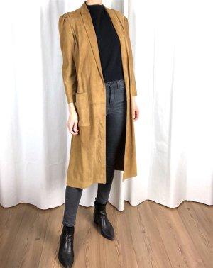 Manteau en cuir brun daim