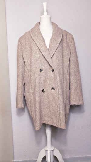 Vintage Wollen jas lichtbruin-licht beige