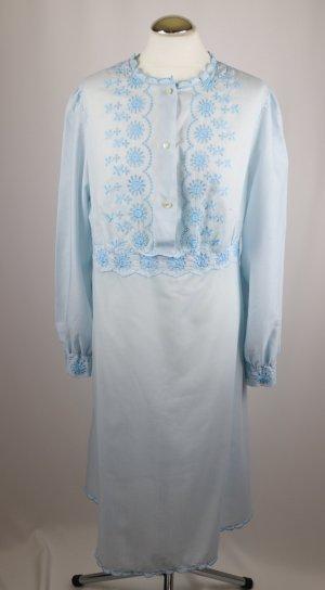 True Vintage Zart Nachtkleid Hemd Größe 38 40 Hellblau Spitze Lochstickerei Hauskleid Kleid Romantisch Burlesque Nachthemd 50er 60er