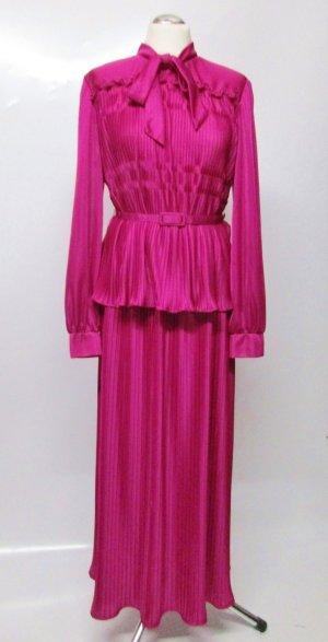 True Vintage Zweiteiliges Kostüm Plisee Geraldine London Größe 42 44 XL Fuchsia Lila Pink Schluppe Bluse Gürtel Maxirock Schluppenbluse Rarität Maxikleid Kleid Rock