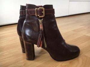 TRUMAN´S Ankle Boots, dunkelbraun mit orange, Gr. 37,5, ca. 3-4x getragen