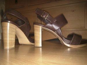 Truman's Platform High-Heeled Sandal dark brown leather