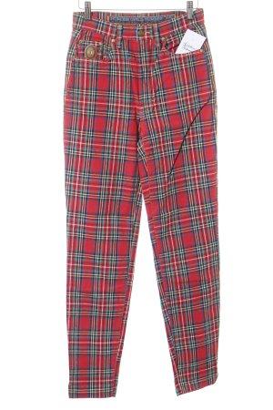 Trussardi Pantalón de cintura alta rojo-verde estampado a cuadros