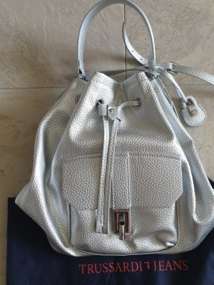 Trussardi Jeans Pouch Bag silver-colored