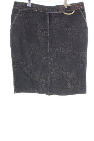 Trussardi Jeans Jeansrock schwarz-braun Schriftzug gedruckt Casual-Look