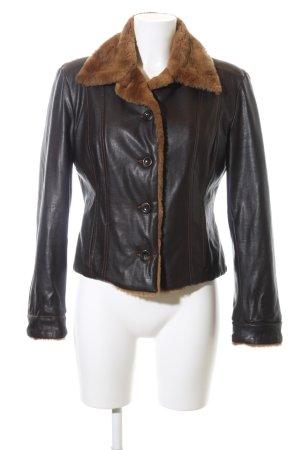 Trussardi Jeans Kunstlederjacke schwarz-braun Street-Fashion-Look