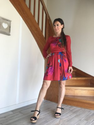 Trussardi Jeans Langarmkleid florales Muster Casual-Look Polyester