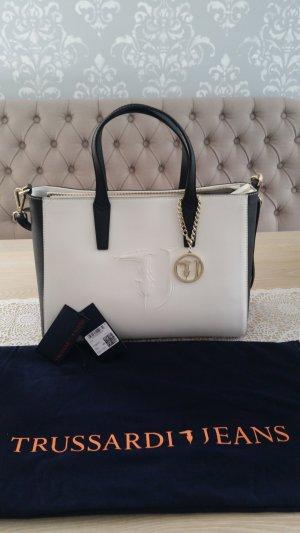 Trussardi Jeans Handbag white-black imitation leather