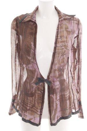 Trussardi Jeans Transparenz-Bluse bronzefarben-lila abstraktes Muster