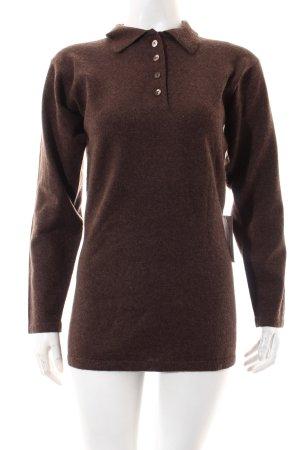 TSE Cashmere Jersey largo marrón oscuro moteado estilo clásico