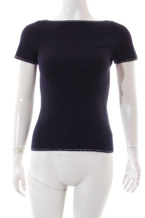 TSE Kurzarmpullover dunkelblau-weiß klassischer Stil