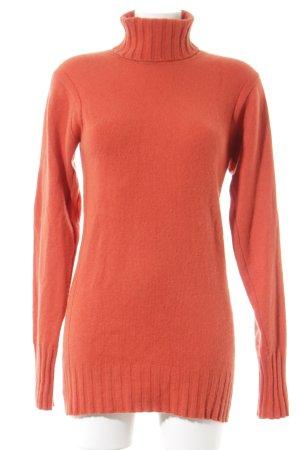 TSE Jersey de cuello alto naranja Patrón de tejido look casual