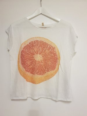 Zara Trafaluc T-shirt wit-oranje Linnen