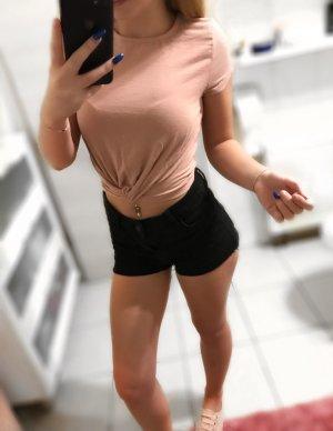 Cropped shirt stoffig roze-rosé