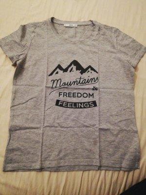 Mango T-shirt lichtgrijs-antraciet