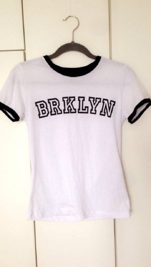 tshirt Brklyn Brooklyn Slogan tee weiß schwarz Kontrastränder Sport