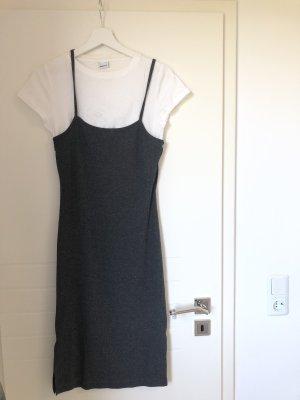 TShirt Kleid Trägerkleid Einteiler Weiß Grau Midikleid Jersey