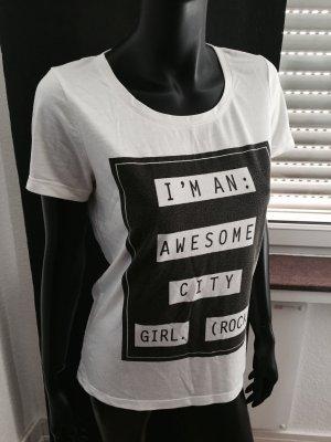 Tshirt mit Aufdruck weiß schwarz neu
