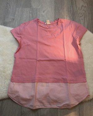 H&M Inserción de blusa rosa-blanco