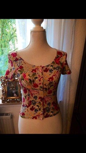 Monki Cropped Shirt cream-raspberry-red