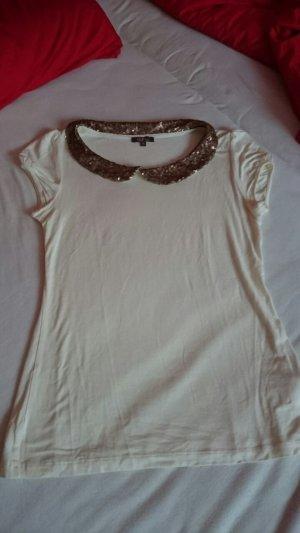 Tshirt mit Pailletten Bubikragen Größe xs